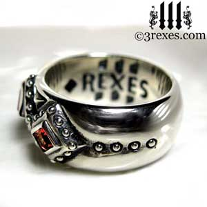 3 kings wedding ring mens silver gothic band red garnet stone side detail 3 rexes jewelry