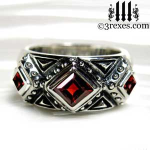 3 kings wedding ring mens silver gothic band with red garnet stone by 3 rexes jewelry