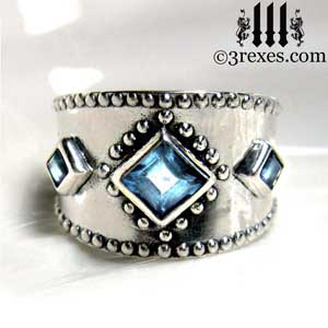 3-wishes-silver-medieval-wedding-ring-gothic-blue-topaz-stones-wide-studded-engagement-band-unisex