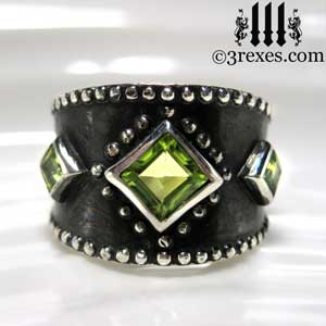 unique-3-wishes-silver-medieval-wedding-ring-gothic-green-peridot-stones-wide-studded-engagement-band-dark-black-unisex-august-birthstone