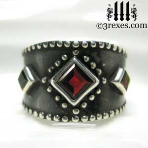 3-wishes-silver-medieval-wedding-ring-gothic-red-garnet-stones-wide-studded-engagement-band-dark-black-unisex-design-front