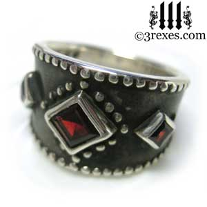 womans-3-wishes-silver-medieval-wedding-ring-gothic-red-garnet-stones-wide-studded-engagement-band-dark-black-unisex-design