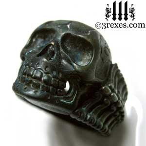 black-skull-ring-for-men-brass-biker-bone-band-3-rexes-jewelry