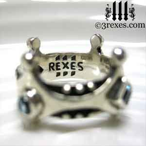 brandy-wine-silver-medieval-wedding-ring-gothic-crown-band-inside-logo-round-blue-topaz-3-rexes-jewelry