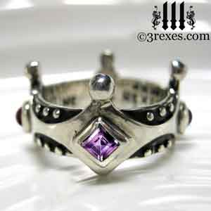 brandy wine silver medieval wedding ring gothic crown - Medieval Wedding Rings
