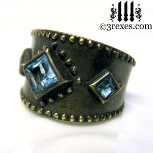 brass-3-wishes-ring-blue-topaz-stone-medieval-gothic-wedding-jewelry-unisex