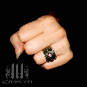 brass-3-wishes-ring-garnet-stone-medieval-gothic-wedding-jewelry-model-fist-january-birthstone-womans