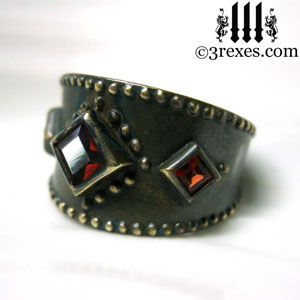 brass-3-wishes-ring-garnet-stone-medieval-gothic-wedding-jewelry-january-birthstone