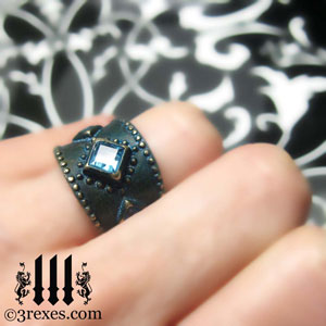 brass-3-wishes-ring-model-blue-topaz-stone-medieval-gothic-wedding-jewelry-december-engagement-band