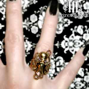 brass octopus dream ring purple amethyst stone eyes gothic steampunk studded band model detail