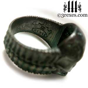 brass-skull-ring-dark-brass-side-detail-bone-band-3-rexes-jewelry