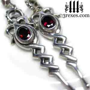 celtic-drop-earrings-gothic-garnet-stones