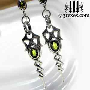 dripping-celtic-earrings-green-peridot-stones-