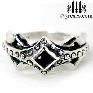 fairy-princess-engagement-ring-black-onyx-stone-sterling-silver-friendship-band-gothic-studs