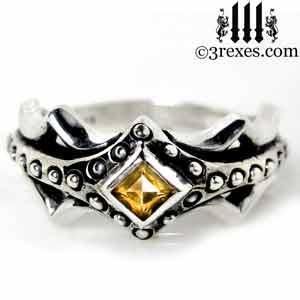 fairy-princess-engagement-ring-orange-citrine-stone-sterling-silver-friendship-band-november-birthstone-jewelry