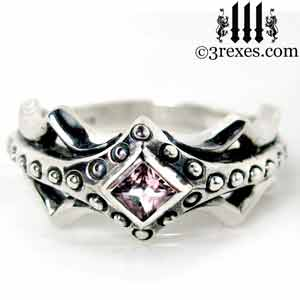 fairy-princess-engagement-ring-pink-cz-stone-sterling-silver-friendship-band-gothic-fairytale