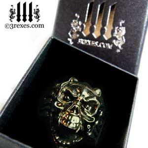 gargoyle-skull-ring-dark-devil-brass-band-for-men-open-mouth-3-rexes-jewelry-black-box