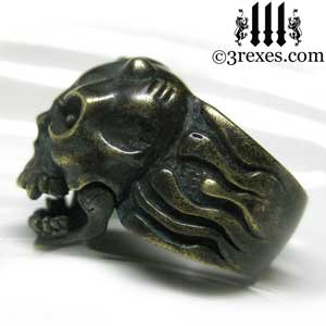 gargoyle-skull-ring-dark-devil-brass-band-for-men-open-mouth-3-rexes-jewelry-side