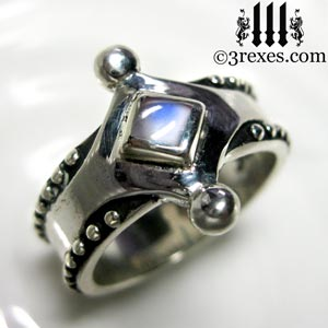 majestic-medieval-silver-ring-magic blue moonstone wedding band