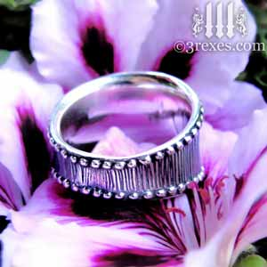 medieval-silver-studded-heart-ring-back-on-flower-3-rexes-jewelry