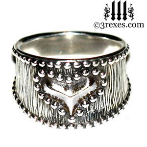 medieval-silver-studded-heart-ring-womans-gothic-wide-wedding-band-3-rexes-jewelry