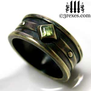 Moorish Gothic 1 Stone Wedding Ring With Antiqued Brass