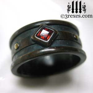 mens-moorish-gothic-one-stone-ring-dark-black-antiqued-brass-red-garnet-stone-royal-wedding-band