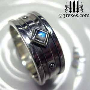 mens-moorish-gothic-one-stone-ring-labradorite 925 sterling silver