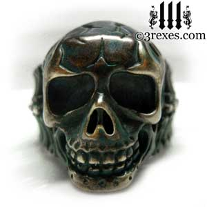 mens-skull-ring-black-brass-biker-band-3-rexes-jewelry