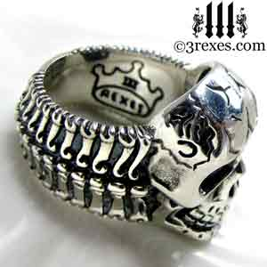 Silver Skull Biker Ring Bones 3 Rexes Jewelry