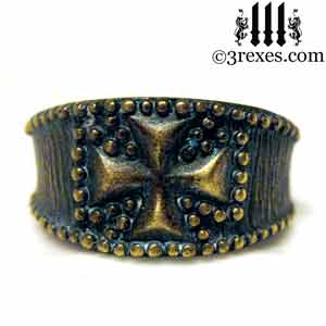mens-studded-iron-cross-ring-knights-templar-band-dark-brass-3-rexes-jewelry