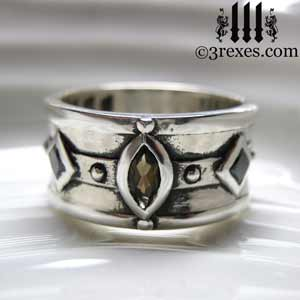 moorish medieval ring topaz black diamond wedding band - Medieval Wedding Rings