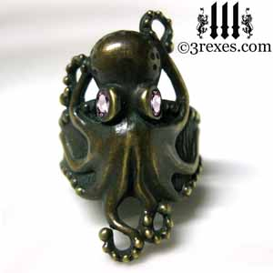 octopus-ring-dark-brass-pink-cz-stone-eyes-steampunk