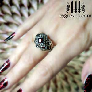 princess love ring gothic garnet stones womens silver wedding ring wicked thorns.by 3 rexes jewelry