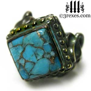 raven-love-ring-brass-blue-turquoise-medieval-princess-engagement-band-by-3-rexes-jewelry