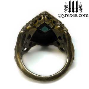 raven-love-ring-brass-blue-turquoise-back-view-medieval-wedding-band-by-3-rexes-jewelry