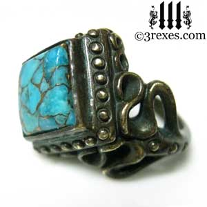raven-love-ring-brass-blue-turquoise-side-view-medieval-wedding-band