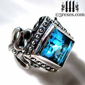 raven-love-silver-ring-medieval-blue-topaz-stone-gothic-studs december birthstone by 3rexes jewelry