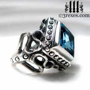 raven-love-silver-ring-medieval-blue-topaz-stone-side-detail december birthstone rings