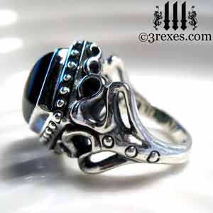 Raven Love Silver Wedding Ring Gothic Black Onyx