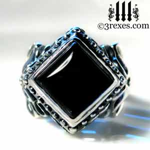 raven-love-silver-wedding-ring-gothic-black-onyx-cabochon-stone-medieval-engagement-band cocktail and promise rings