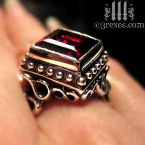 raven-love-silver-wedding-ring-gothic-garnet-stone-medieval-engagement-band-model-detail-january-birthstone-jewelry