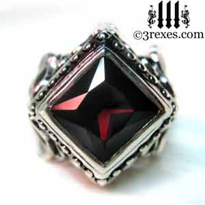 raven-love-silver-wedding-ring-gothic-garnet-stone-medieval-engagement-band-model-detail-3 january birthstone rings and promise rings by 3 rexes jewelry
