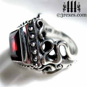 ladies-raven-love-silver-wedding-ring-gothic-garnet-stone-medieval-engagement-band-cocktail-statement-january-birthstone-jewelry