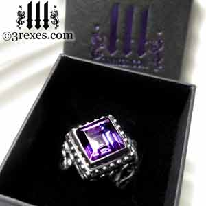 raven-love-silver-wedding-ring-gothic-purple-amethyst-stone-medieval-engagement-band-in-box coctail and statement rings by 3 rexes jewelry