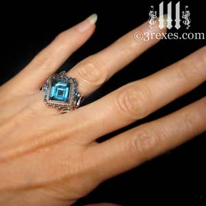 raven love wedding ring blue topaz stone model - Blue Topaz Wedding Rings