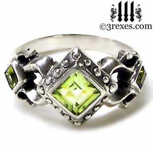 royal princess sterling silver ring green peridot stone gothic wedding engagement band