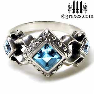 royal princess 925 sterling silver ring blue topaz stone gothic wedding engagement band