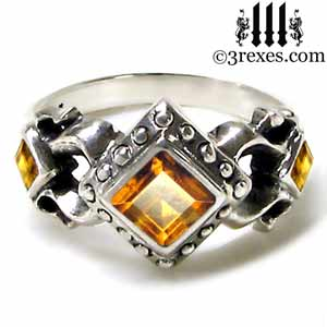 royal princess 925 sterling silver engagement ring yellow citrine stone gothic wedding ring - Gothic Wedding Ring