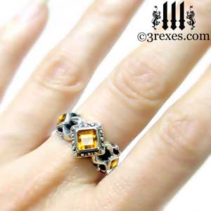 the royal princess wedding ring model citrine stone gothic medieval engagement band - Medieval Wedding Rings
